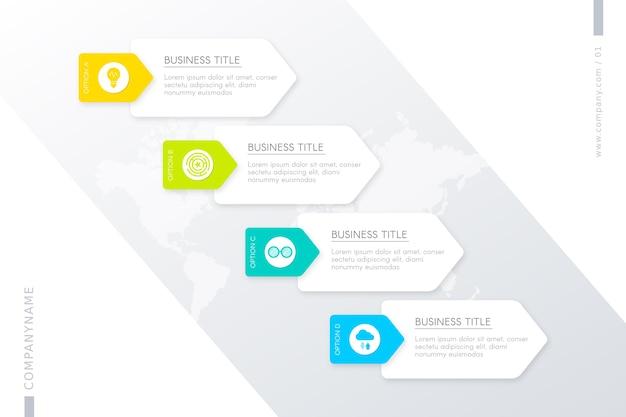 Modello con passaggi per infografica Vettore gratuito