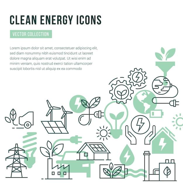 Modello con posto per il testo e icone isolate impostato sul tema dell'energia verde Vettore Premium