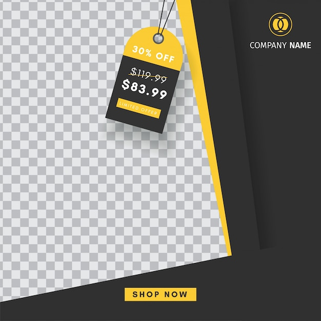 Modello creativo di post vendita instagram con un banner astratto bianco Vettore Premium