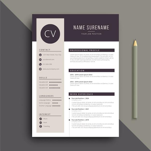 Modello cv curriculum chiaro e professionale Vettore Premium