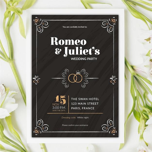 Modello d'annata dell'invito di nozze sulla lavagna Vettore gratuito