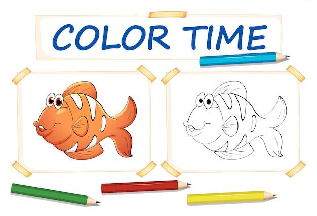 Modello Da Colorare Con Pesce Pagliaccio Scaricare Vettori Gratis