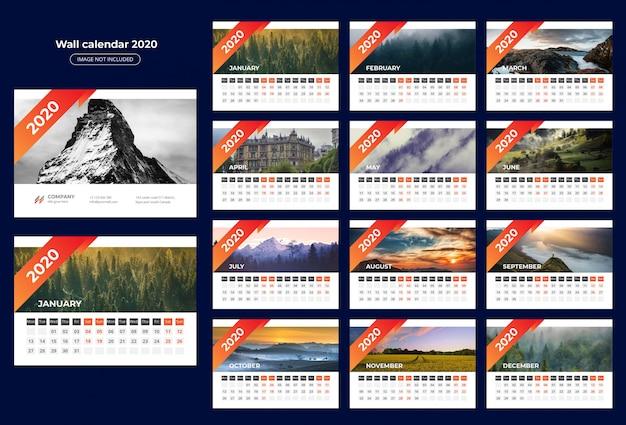 Calendario 2020 Da Tavolo.Modello Da Tavolo Calendario 2020 Scaricare Vettori Premium