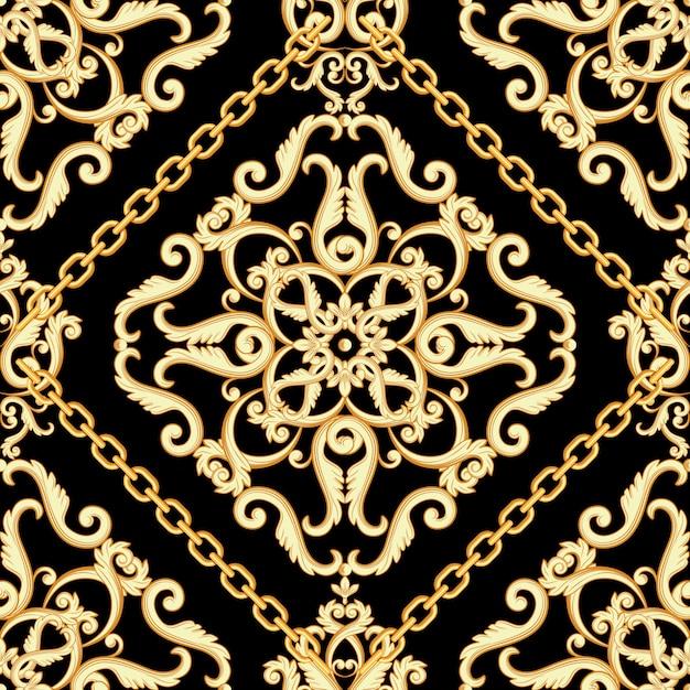 Modello damascato senza soluzione di continuità. beige dorato su struttura nera con catene. Vettore Premium