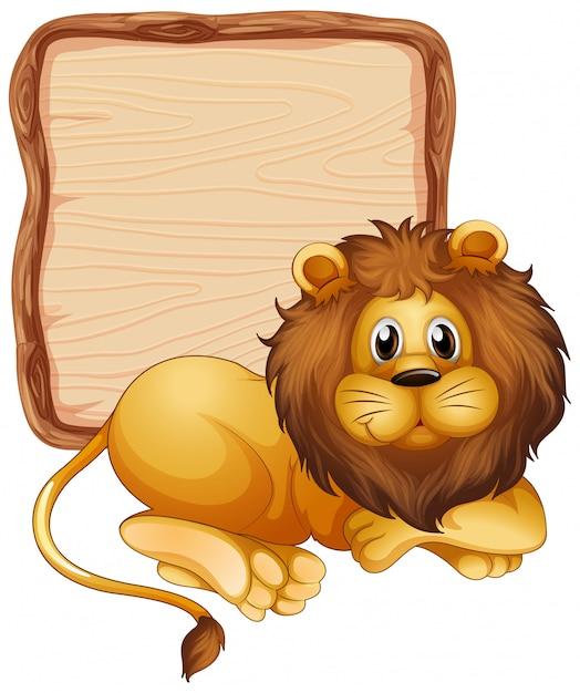 Modello del bordo con il leone sveglio su fondo bianco Vettore gratuito