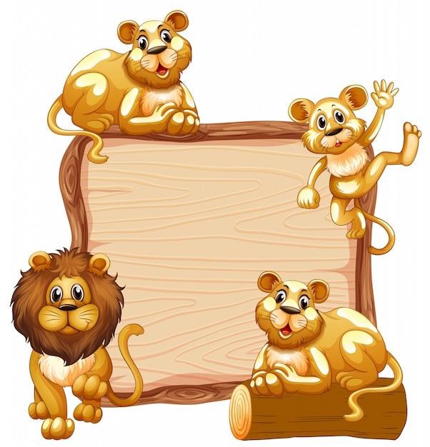 Modello del bordo con la famiglia del leone carino Vettore gratuito