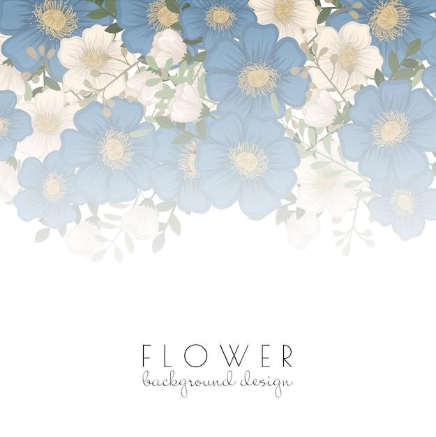 Modello del bordo del fiore - fiori blu Vettore gratuito