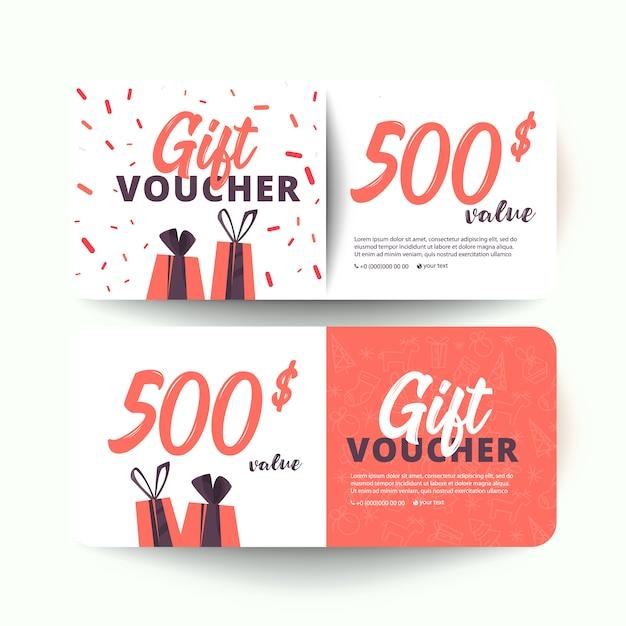 Modello del buono regalo con cuori e una confezione regalo. 500 dollari Vettore Premium