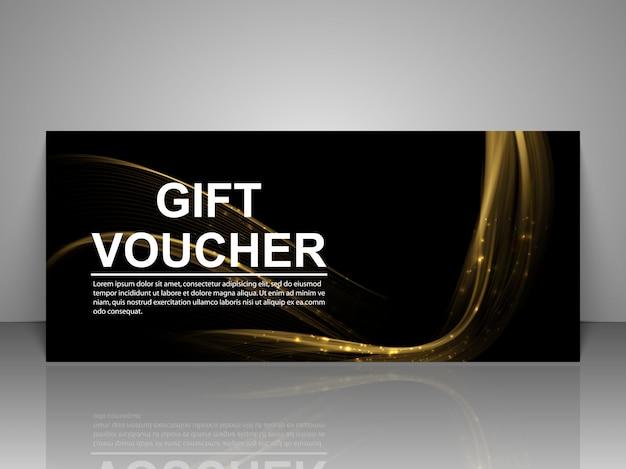 Modello del buono regalo con linee luminose dorate. Vettore Premium