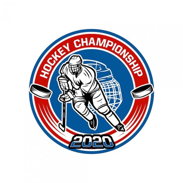 Modello del distintivo di campionato 2020 dell'hockey con l'illustrazione del giocatore di hockey Vettore Premium