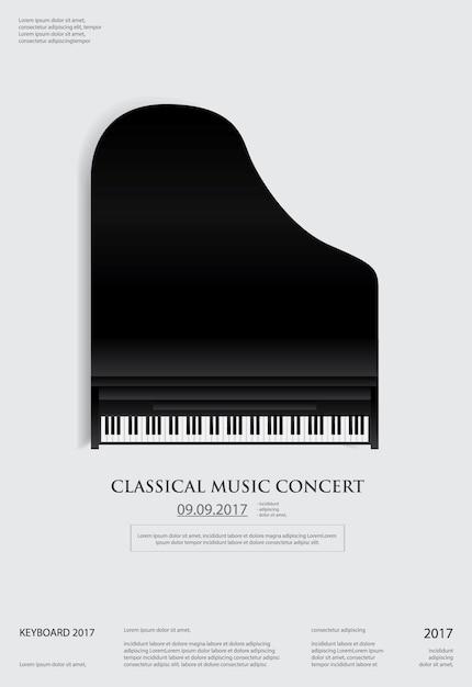Modello del fondo del manifesto del pianoforte a coda di musica Vettore Premium