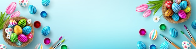Modello del fondo del manifesto di pasqua con le uova di pasqua nel nido su fondo blu-chiaro. saluti e regali per il giorno di pasqua Vettore Premium
