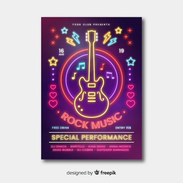 Modello del manifesto del festival di musica delle luci al neon Vettore gratuito