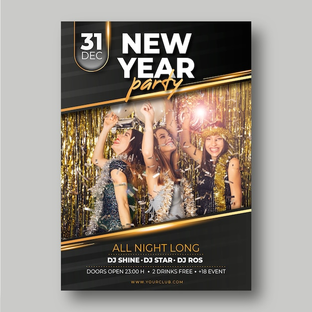 Modello del manifesto del partito del nuovo anno 2020 con immagine Vettore gratuito