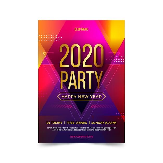Modello del manifesto del partito del nuovo anno 2020 nella progettazione piana Vettore gratuito