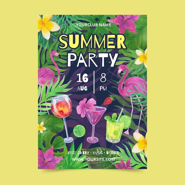 Modello del manifesto del partito di estate dell'acquerello Vettore gratuito