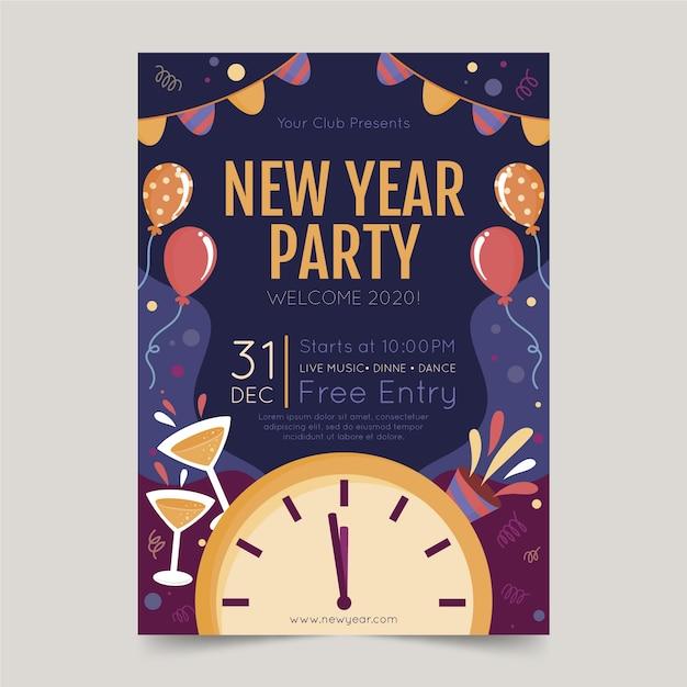 Modello del manifesto del partito disegnato a mano del nuovo anno 2020 Vettore gratuito