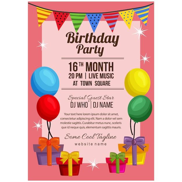 Modello del manifesto della festa di compleanno con la bandiera dell'aerostato presente Vettore Premium