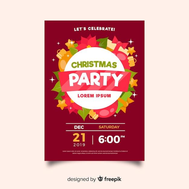 Modello del manifesto della festa di natale di design piatto Vettore gratuito