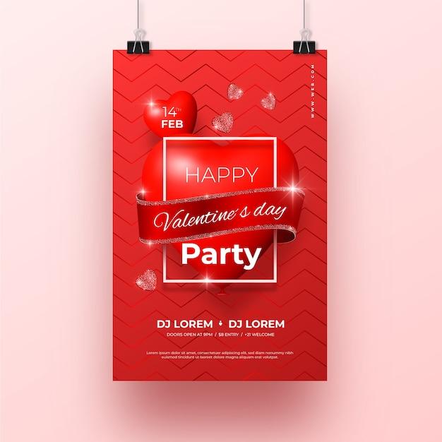 Modello del manifesto della festa di san valentino Vettore gratuito