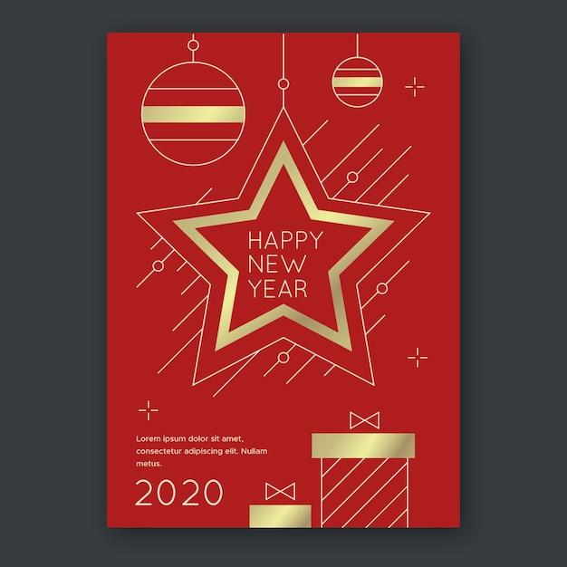 Modello del manifesto di festa di capodanno in stile contorno con stella dorata Vettore gratuito