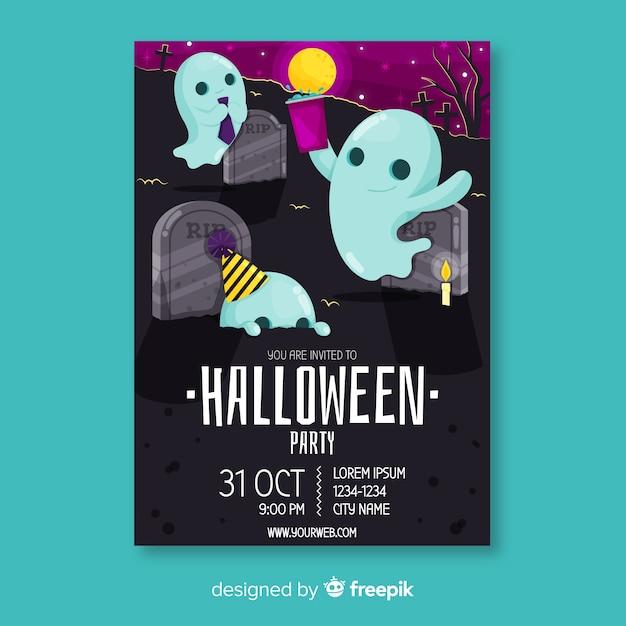 Modello del manifesto di halloween festa fantasma Vettore gratuito
