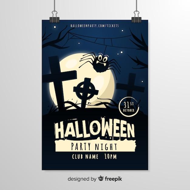 Modello del manifesto di halloween notte cimitero Vettore gratuito