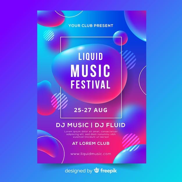 Modello del manifesto di musica con effetto liquido Vettore gratuito