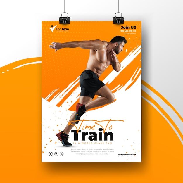 Modello del manifesto di sport con foto di addestramento dell'uomo Vettore gratuito