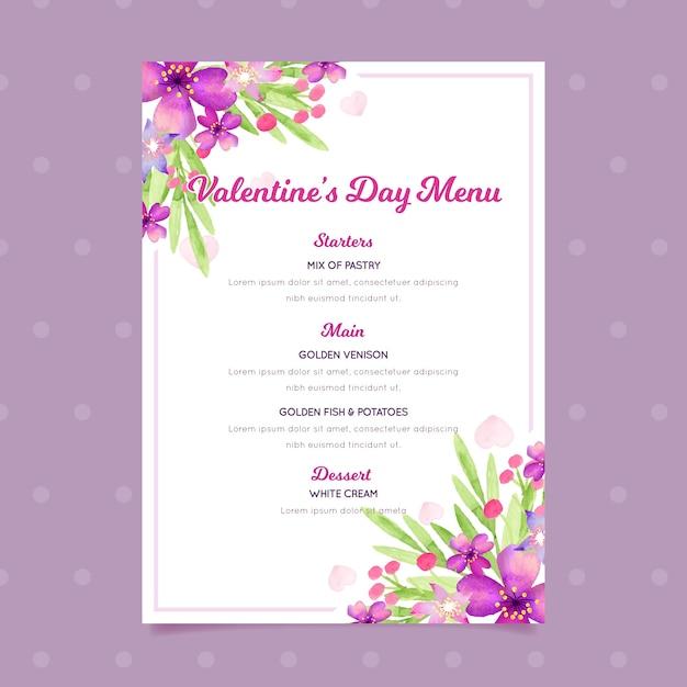 Modello del menu di san valentino nel concetto dell'acquerello Vettore gratuito