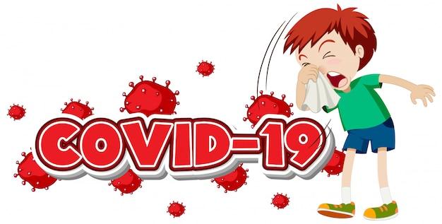 Modello del segno di covid 19 con ragazzo malato che starnutisce Vettore gratuito