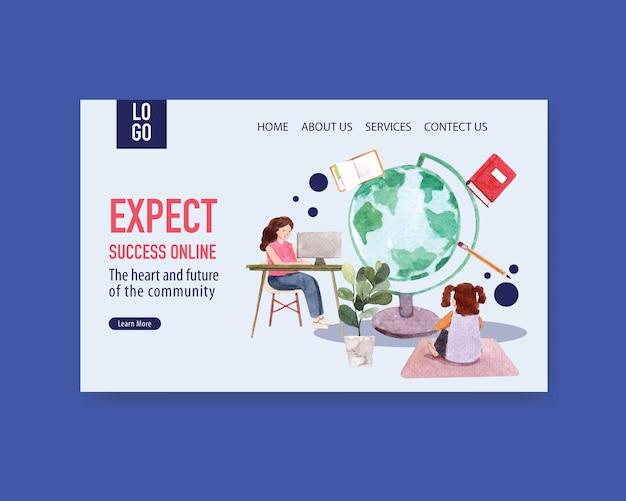 Modello del sito web con l'acquerello online di progettazione di massima di istruzione Vettore gratuito