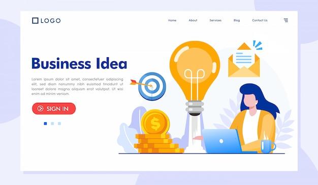 Modello del sito web della pagina di destinazione dell'idea imprenditoriale Vettore Premium