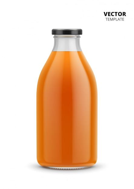 Modello del vetro da bottiglia del succo isolato Vettore Premium