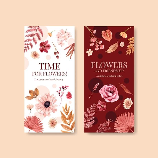 Modello dell'aletta di filatoio con progettazione di massima del fiore di autunno per l'illustrazione dell'acquerello dell'opuscolo e dell'opuscolo. Vettore gratuito