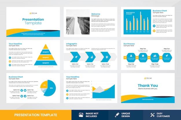 Modello dell'elemento di infographic di progettazione di presentazione di affari Vettore Premium