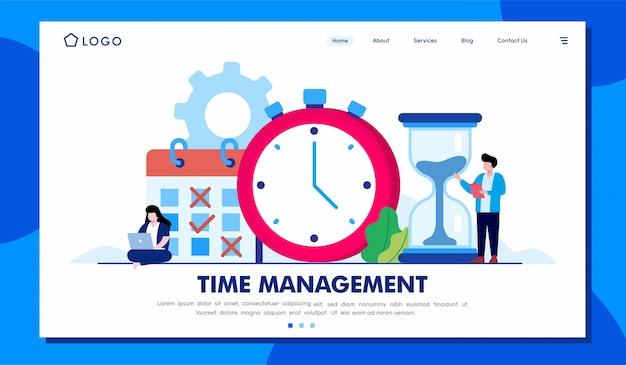 Modello dell'illustrazione del sito web della pagina di destinazione della gestione del tempo Vettore Premium