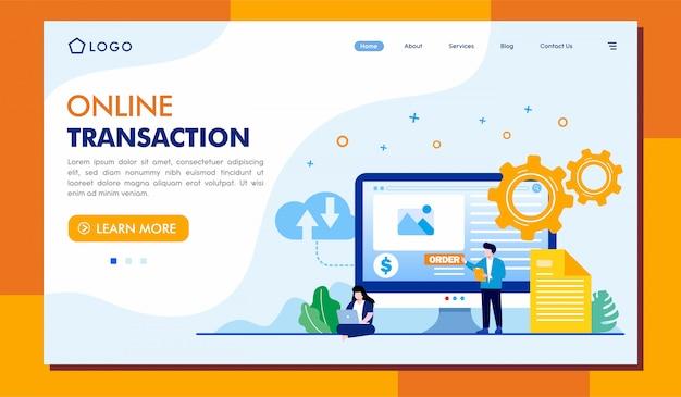 Modello dell'illustrazione della pagina di destinazione della transazione online Vettore Premium