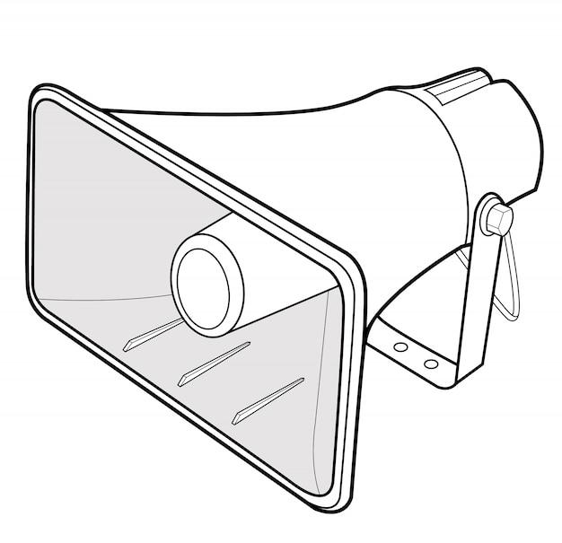 Modello dell'illustrazione di progettazione di vettore dell'altoparlante del megafono Vettore Premium