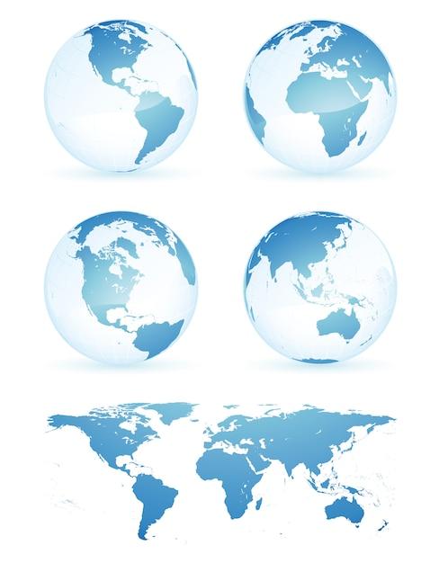 Modello dell'illustrazione di progettazione di vettore della mappa della terra del globo Vettore Premium
