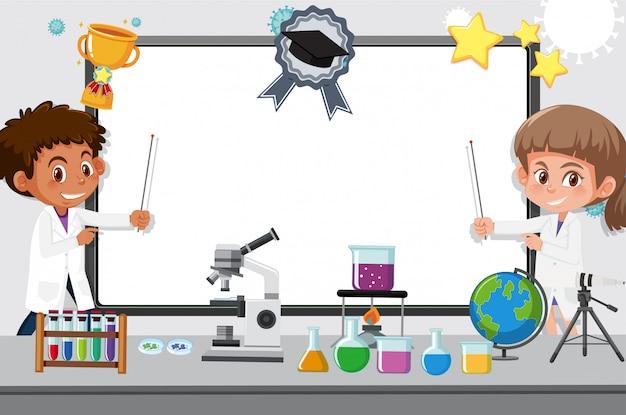 Modello dell'insegna con due bambini che lavorano nel laboratorio di scienze a scuola Vettore Premium