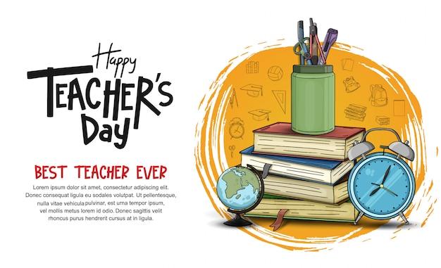 Modello dell'insegna del giorno dell'insegnante felice Vettore Premium