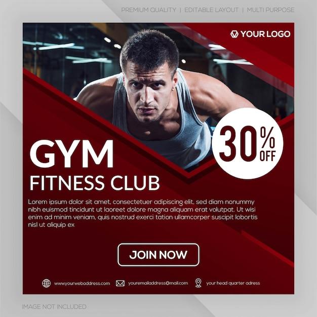 Modello dell'insegna del quadrato del club di forma fisica della palestra o pubblicità della posta di instagram Vettore Premium