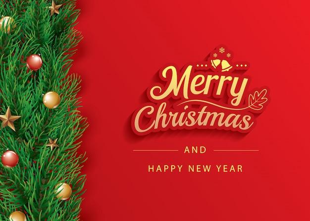 Modello dell'insegna della cartolina d'auguri di buon natale e felice anno nuovo. Vettore Premium