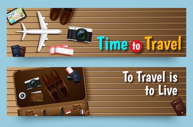Modello dell'insegna di giri di viaggio, insegna orizzontale di affari di pubblicità Vettore Premium