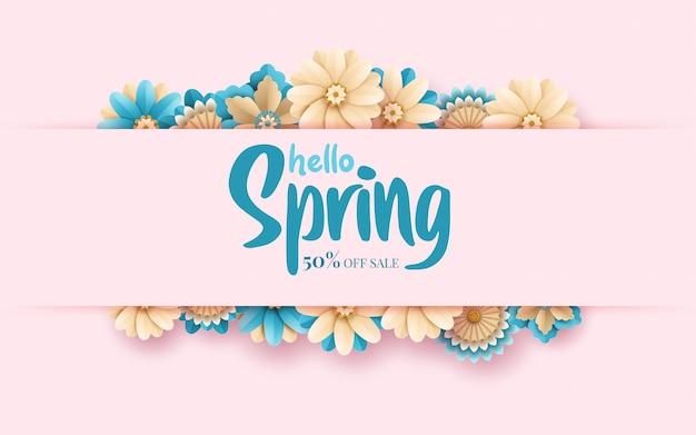 Modello dell'insegna di vendita della primavera con la struttura del taglio della carta Vettore Premium