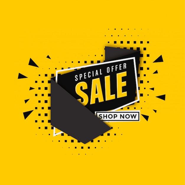 Modello dell'insegna di vendita su fondo giallo Vettore Premium