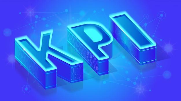 Modello dell'insegna di vettore isometrico di servizio di kpi 3d Vettore Premium