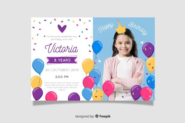 Modello dell'invito di compleanno dei bambini con l'immagine Vettore gratuito