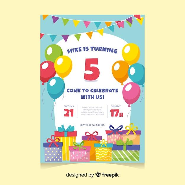 Modello dell'invito di compleanno dei bambini Vettore gratuito